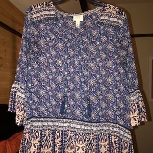 Sheer floral dress top with a tie at the top
